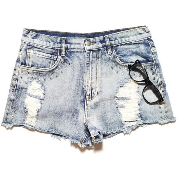 d9abeb6b07 Forever 21 Shorts | Distressed Stud Acid Wash Jean | Poshmark